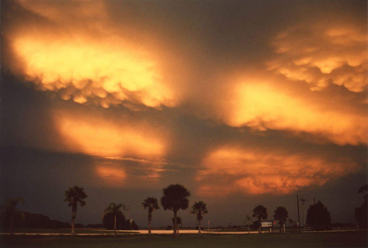 Dramatic evening Mammatus display south of Palmdale, Florida on August 25, 2015. View southeast from Route 27..