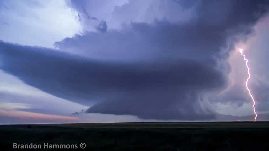 Video still showcasing the incredible structure, and one of many CGs, associated with this electrifying supercell near Selden, KS. (June 4, 2015)