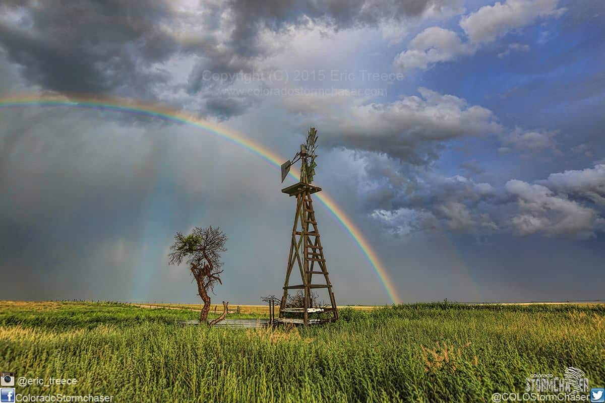 Beautiful rainbow and old time wooden windmill taken on my last chase of the 2015 season in July near Rush, CO.