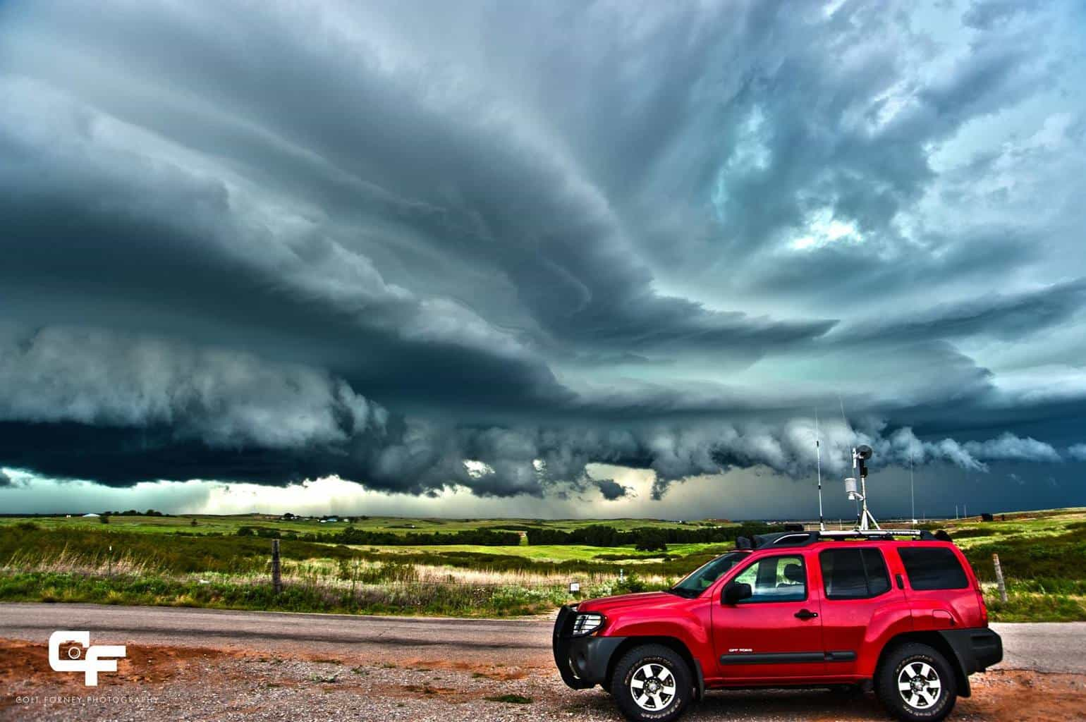 July 12, 2010 Putnam, OK Chase vehicle with incredible supercell. 2010 was such a great year!