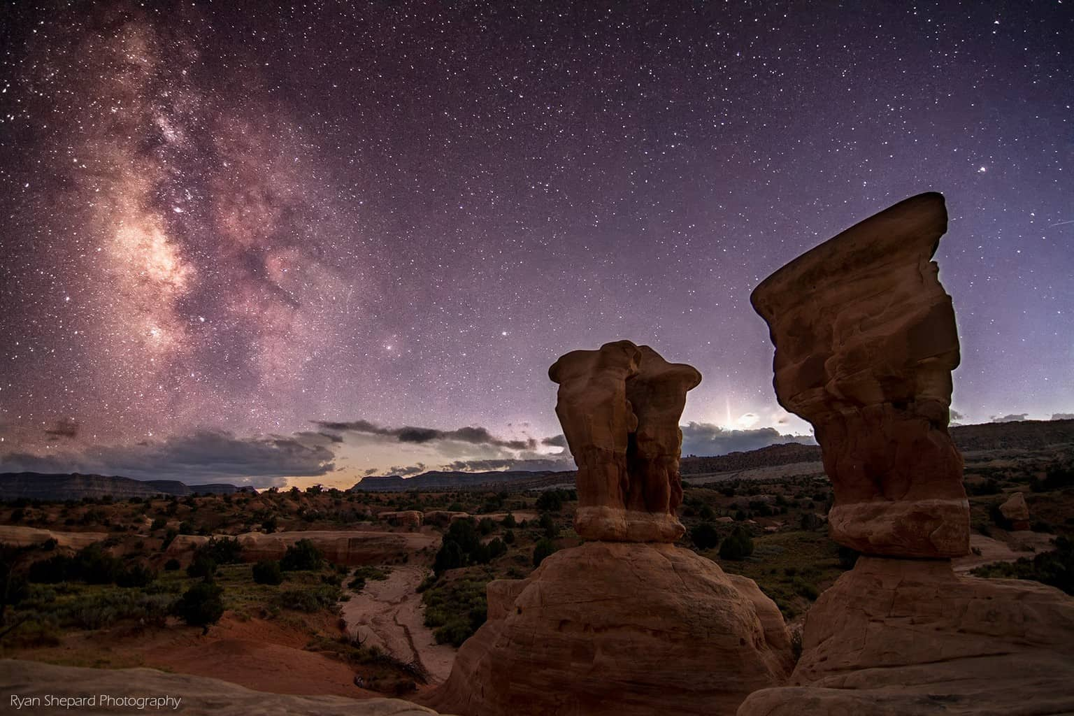 A very peaceful place in a very unpopulated area. No light pollution. No sounds. Just stars bright and far as the eye can see. Arches National Park, UT Sept 2015