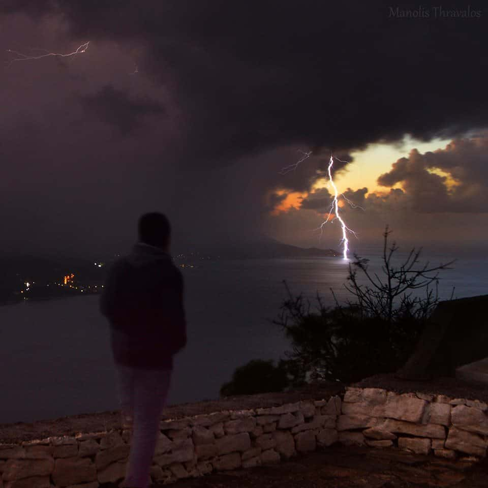 Lightning during sunset time in Samos Island, Greece. The shot was taken yesterday. Hope you like it! Thank you for your support!