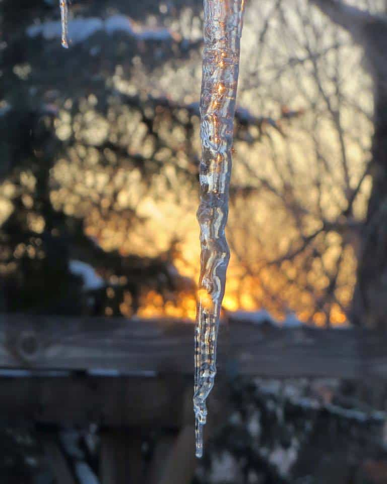 Ice & Fire at end of 42 F day — in Billings, Montana.