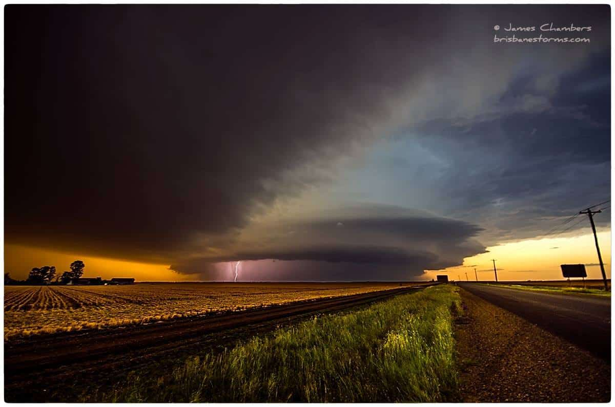 An HP supercell in the Darling Downs (near Brisbane, eastern Australia) slowly weakens at sunset. Despite this, inflow was still strong and the CG lightning frequent. What a crazy storm.