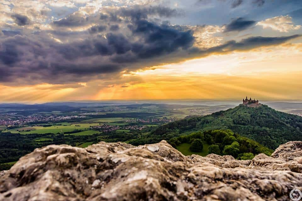 Sunset over the Castle Hohenzollern, Swabian Alb Germany, — at Hohenzollern Castle.