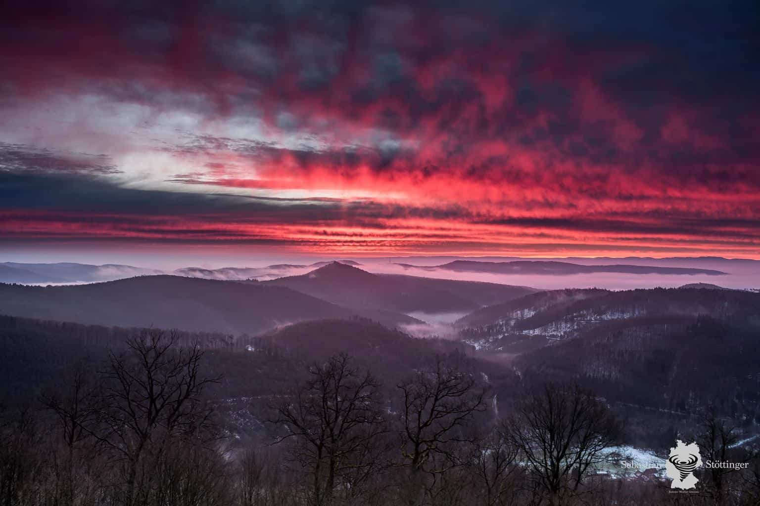Intensive morning glow on January 24, 2016, looking across the palatinate forest in southwest Germany.