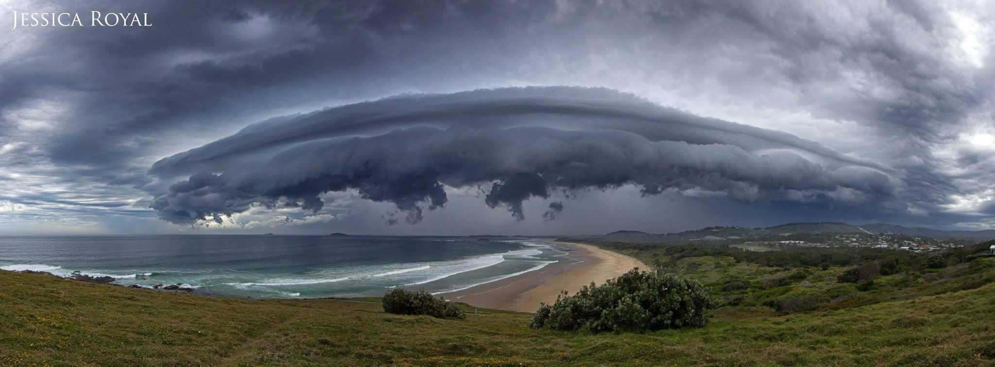Pano from this afternoons storm that hit the Coffs Coast, NSW. Didn't make it to the spot I wanted, but the local headland was just as good