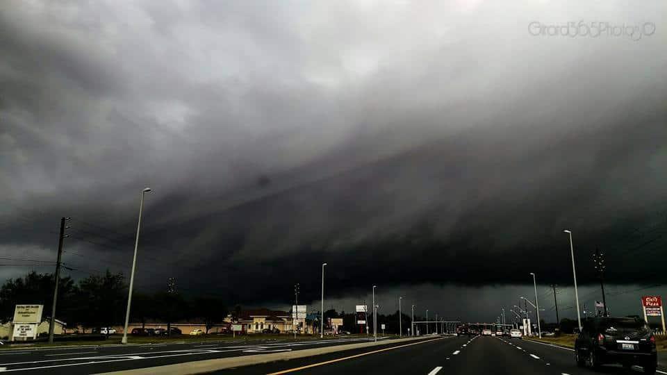 Today,1-22-16,Week Wachee Florida, winter storm Jonas Showing his teeth