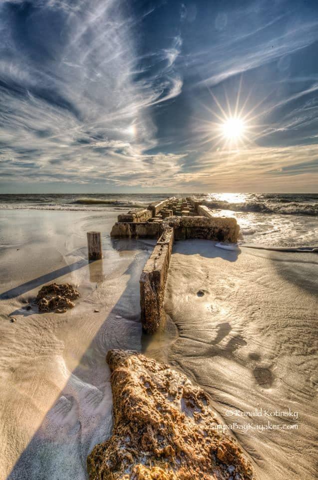 Sun, sand and a dock with a rock - Siesta Key - Jan 2016