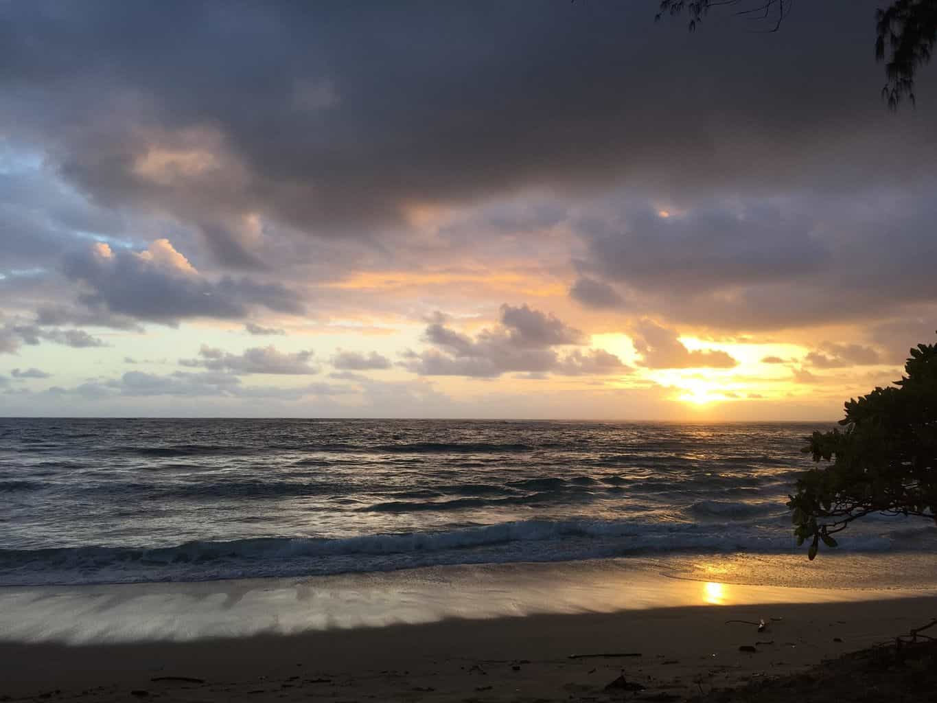 Sunrise this morning in the North Shore of Oahu — at North Shore, Oahu, Hawaii.
