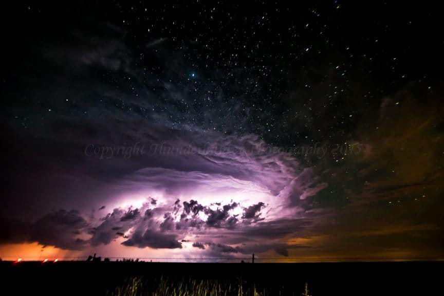 Night time supercell under the stars. You can't see the frogs and toads but believe me, the chorus from rival species at this location was like nothing I've ever heard before! June 8th 2015 somewhere near Logan, New Mexico. With Marko Korošec andGauvin Daniel.