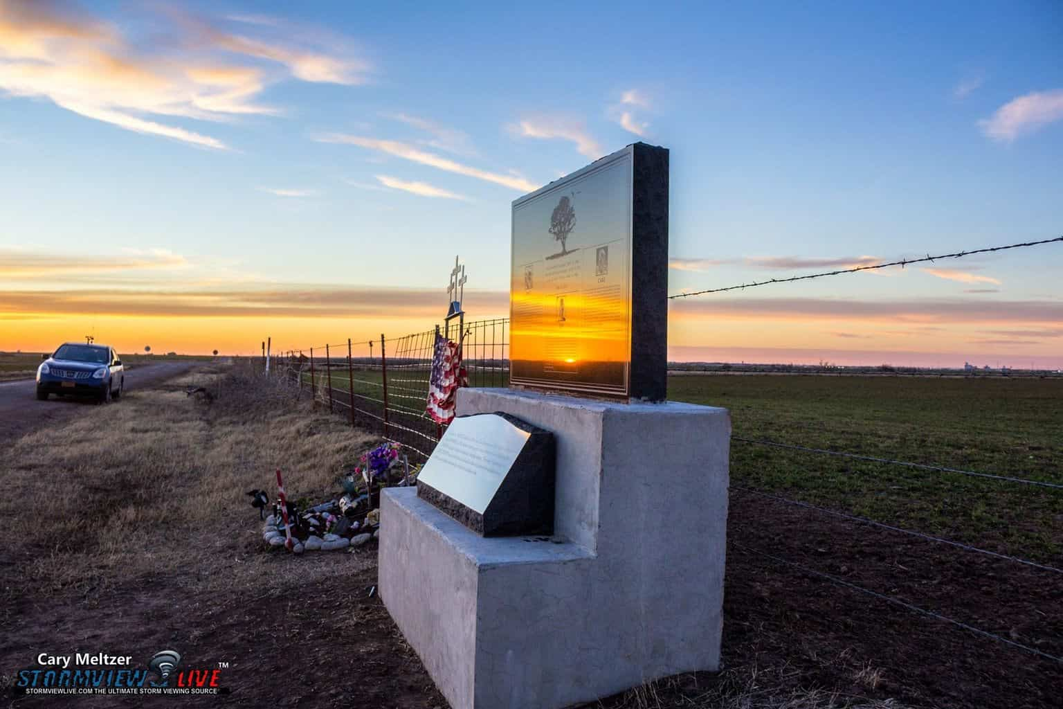 """Reflecting On Those We've Lost"" - El Reno, Oklahoma - Team Twistex Chaser Memorial dedicated to Tim Samaras, Paul Samaras, & Carl Young — at Twistex Memorial."