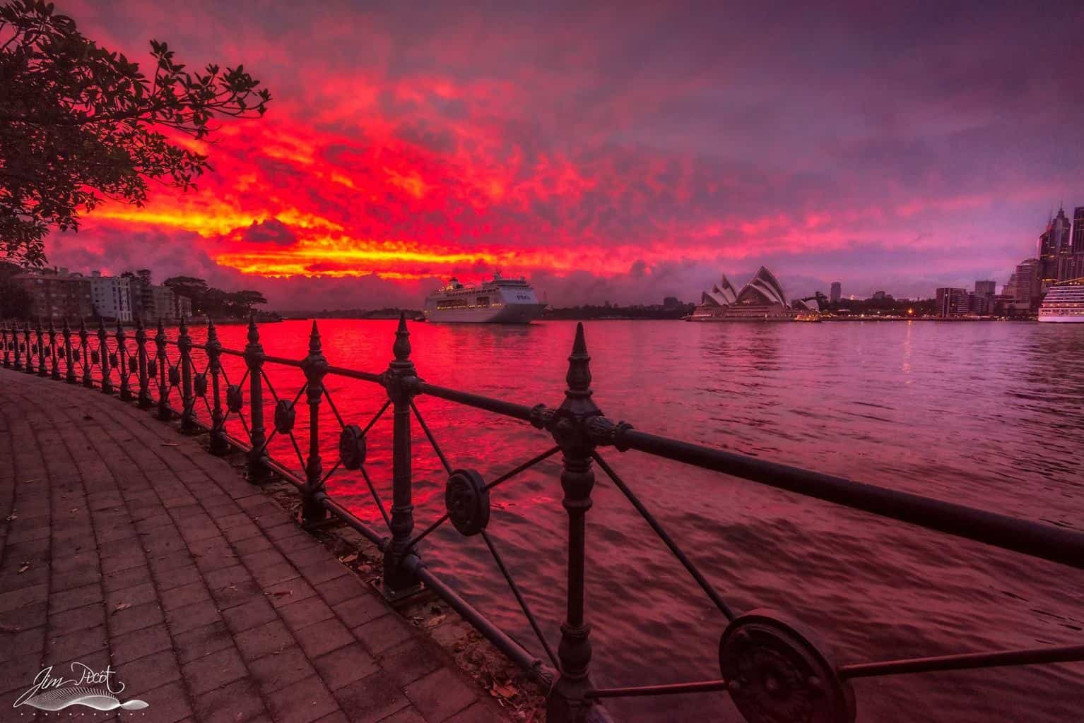 Beautiful sunrise today at Sydney Harbor, Australia.