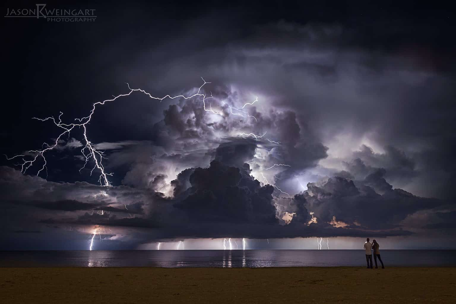 Ten image stack of lightning off the coast of Palm Beach, Florida.  f/7.1  20 seconds  ISO 320