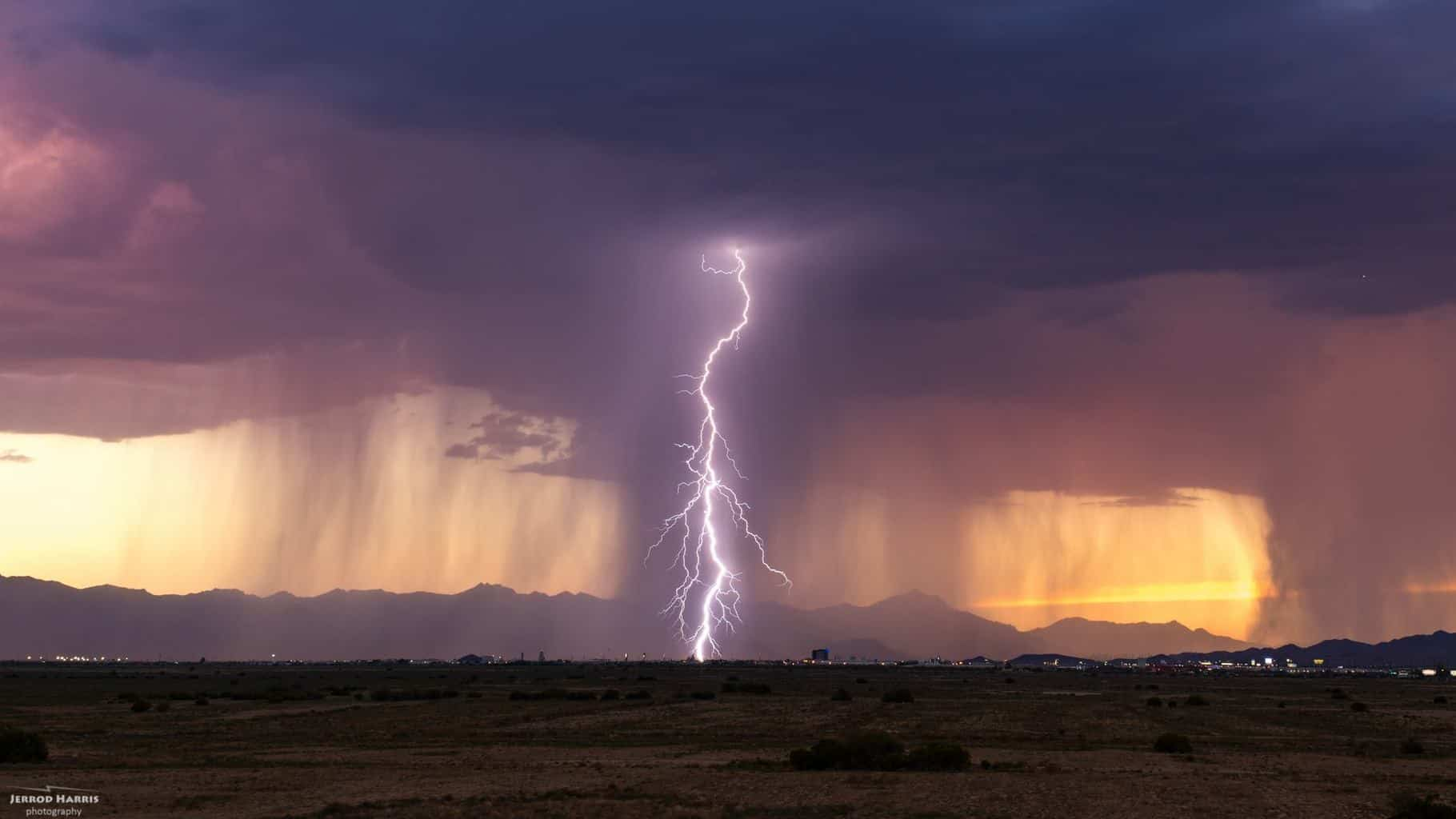 Lightning, a sunset and a little microburst going down in Chandler, Arizona on August 31st, 2015.