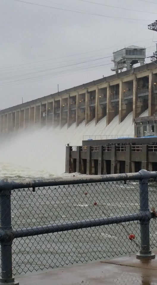 Flood gates running full force- Bagnell Dam, Lake Ozark MO