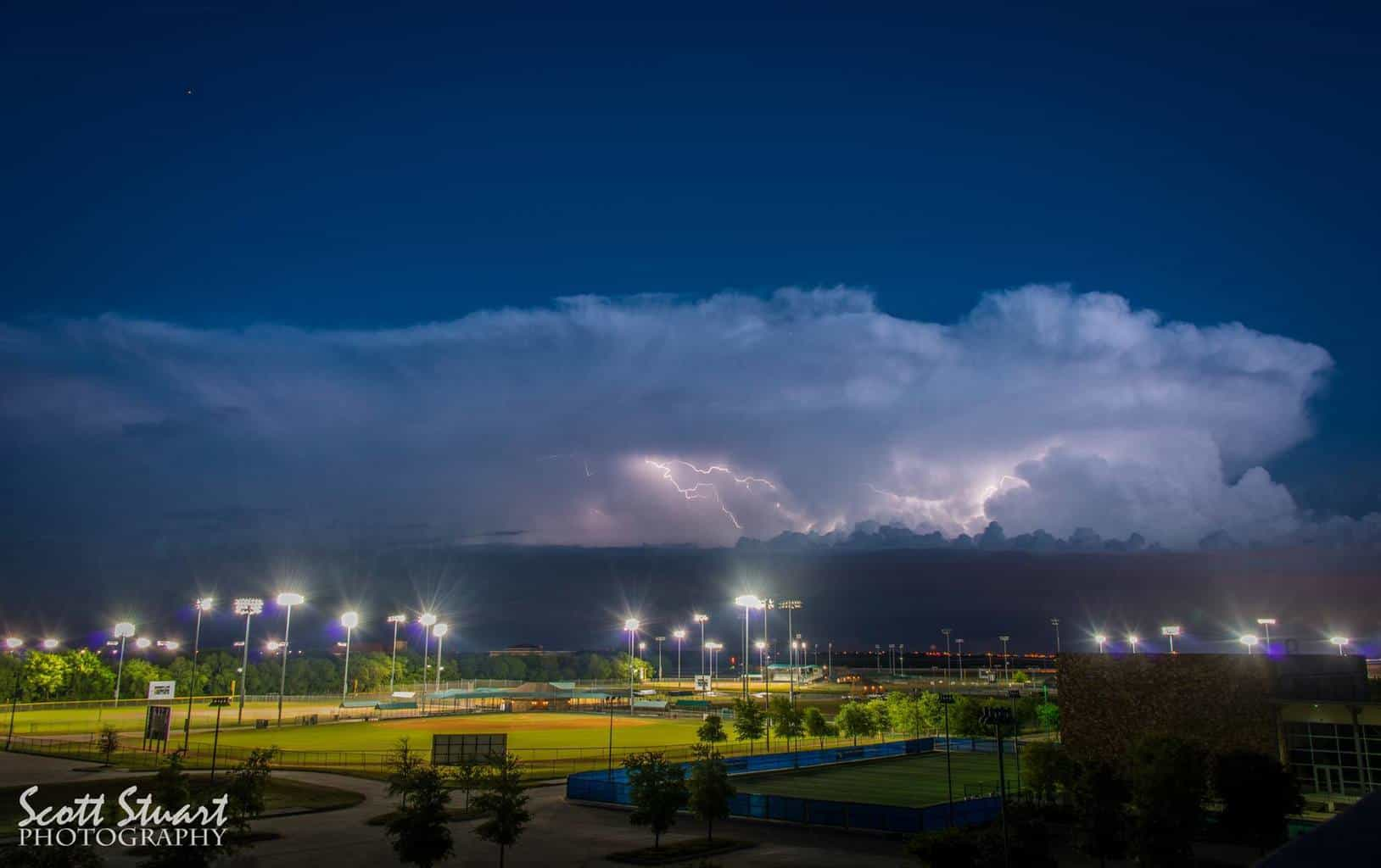 Baseball and Lightning Strikes Needless to say, games were called off. Ballfields at Craig Ranch, McKinney, Texas.