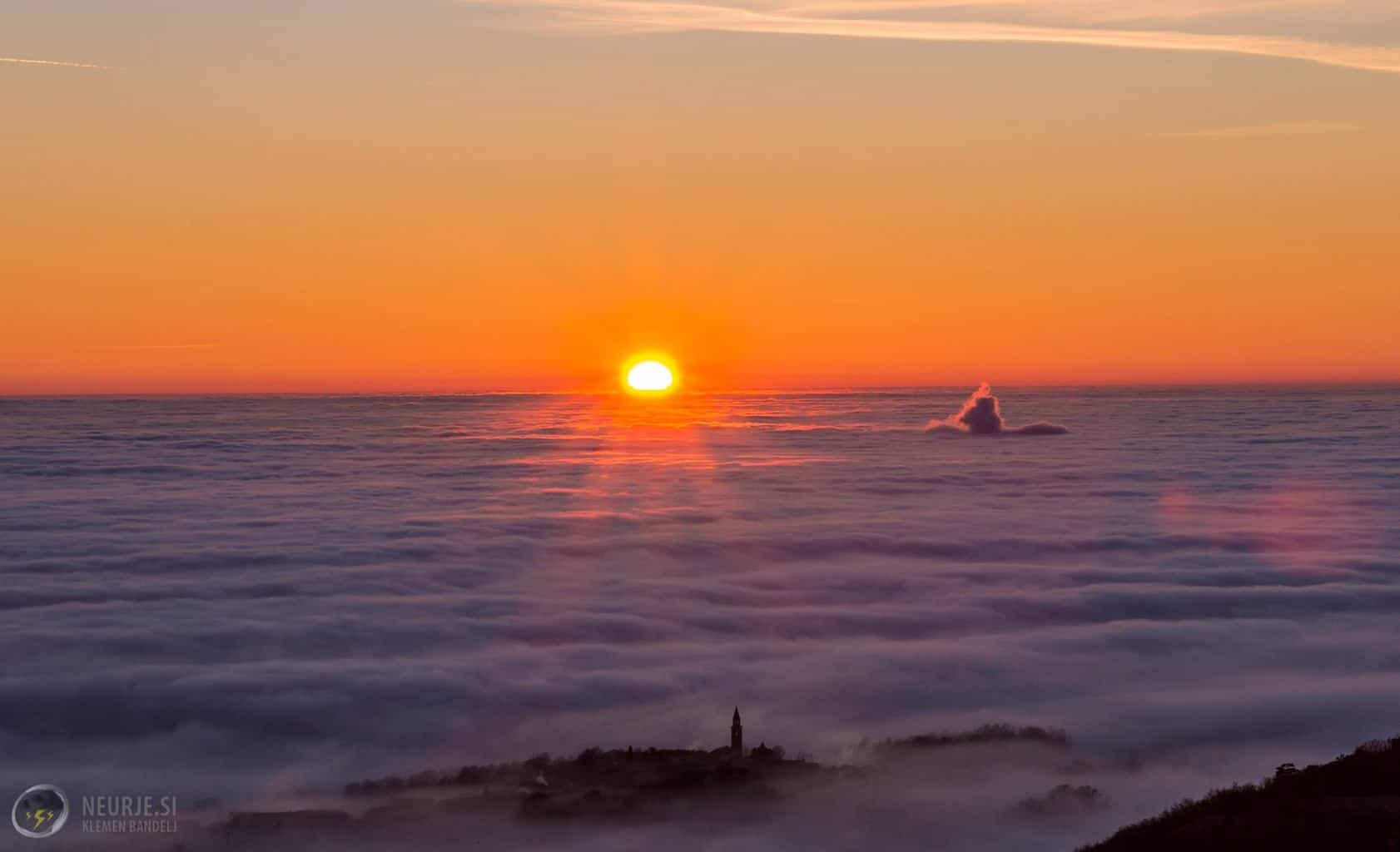 Sunset and thick fog made a beautiful sunset today in SW Slovenia 28.12.2015