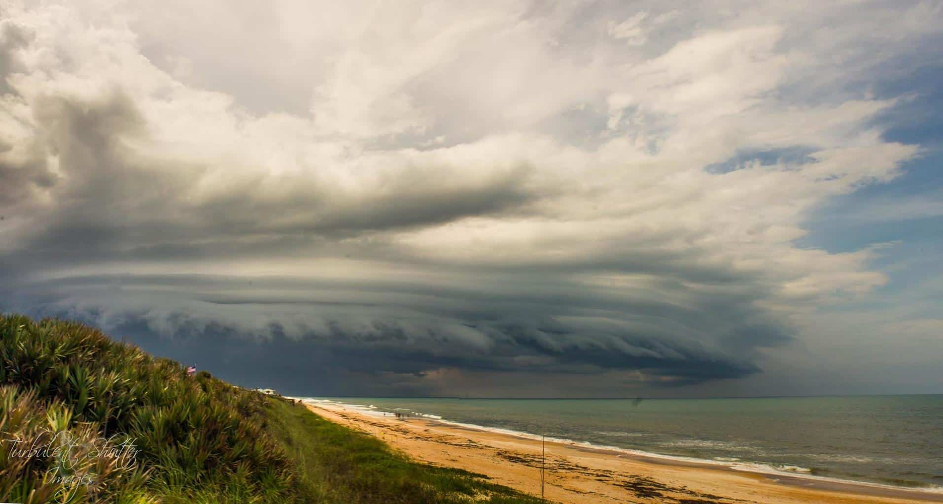Summer Beast  Flagler Beach, FL  June 25 2015  Monster Shelf cloud moves down the beach South bringing with it very heavy rain and intense lightning during the afternoon storms Florida is known and loved for. Bring on the Spring