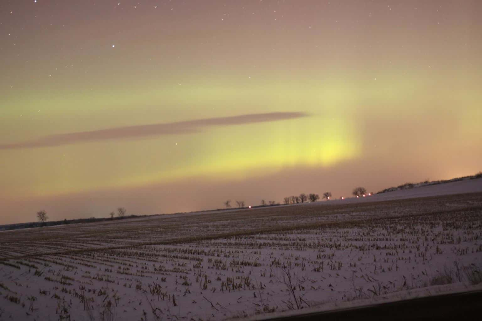 The northern lights. My first sighting ever, tonight, near Lowville, WI. Super excited about it, was so cool. With the Canon 50D