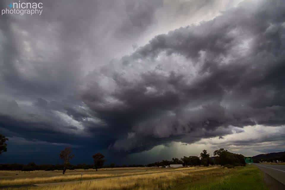 Beautiful back end of a big storm cell in North Central Victoria, Australia. 28 Jan 2016.