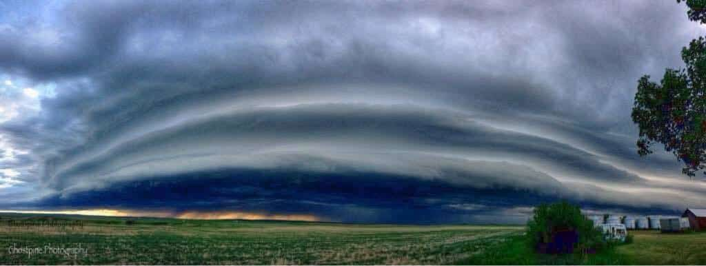 Panorama of the June 19th 2015 Shelf cloud that passed right through our backyard.. Orkney, Alberta Canada