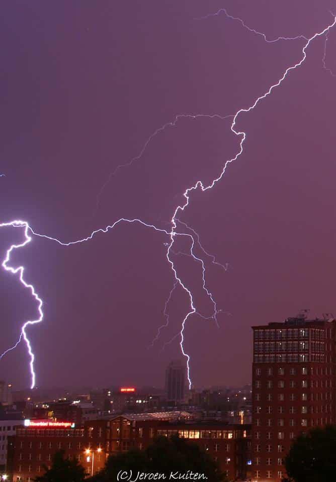 Lightning hitting my city Zoetermeer.(Netherlands)