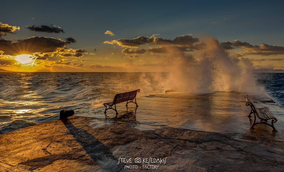 Windy sunset ....right in my face.....and these waves were hitting me hard..!! but it was worthy enough to capture it..... Rhodes island Greece ...yesterday.......