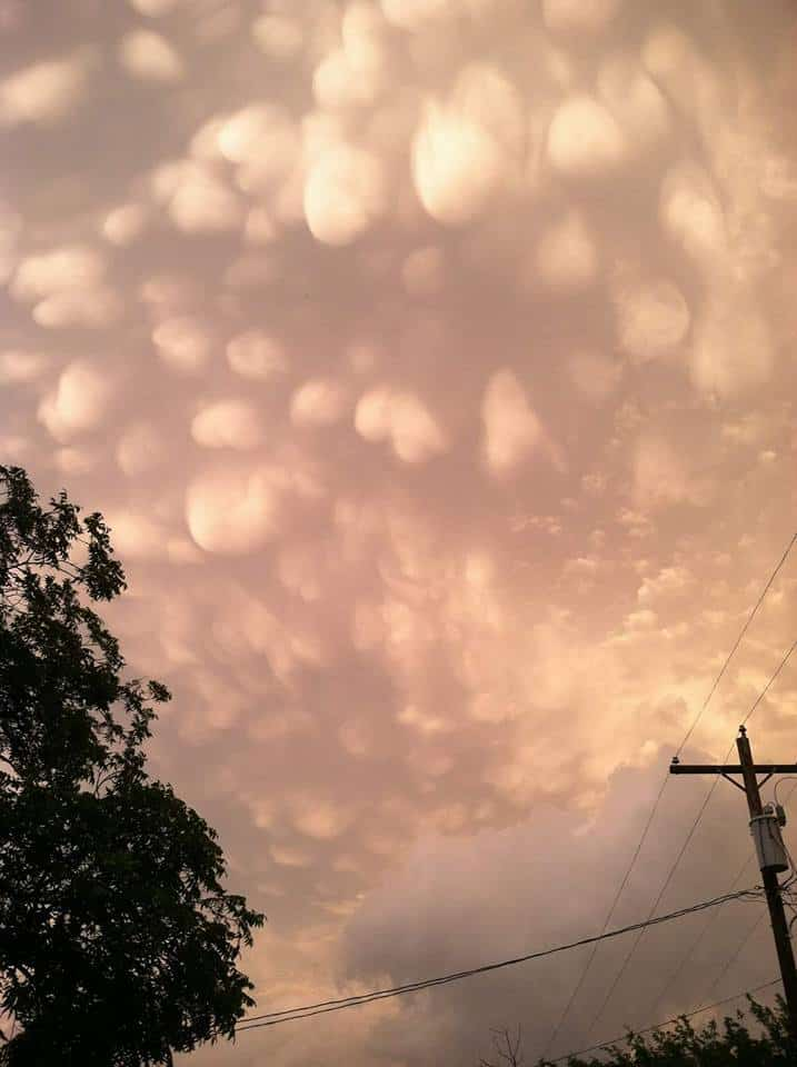 Mammatus clouds after a tornadic thunderstorm over Coleman, TX