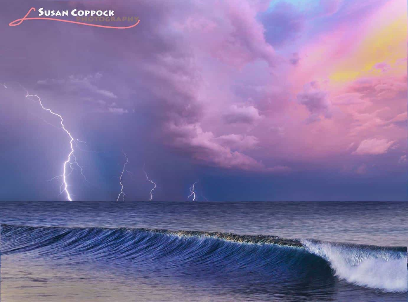 This is a composite I did of three lightning shots stacked (taken in Arizona), and then added to the ocean sunrise shot (taken in Carlsbad, CA). Haha- melding my two favorite states together!