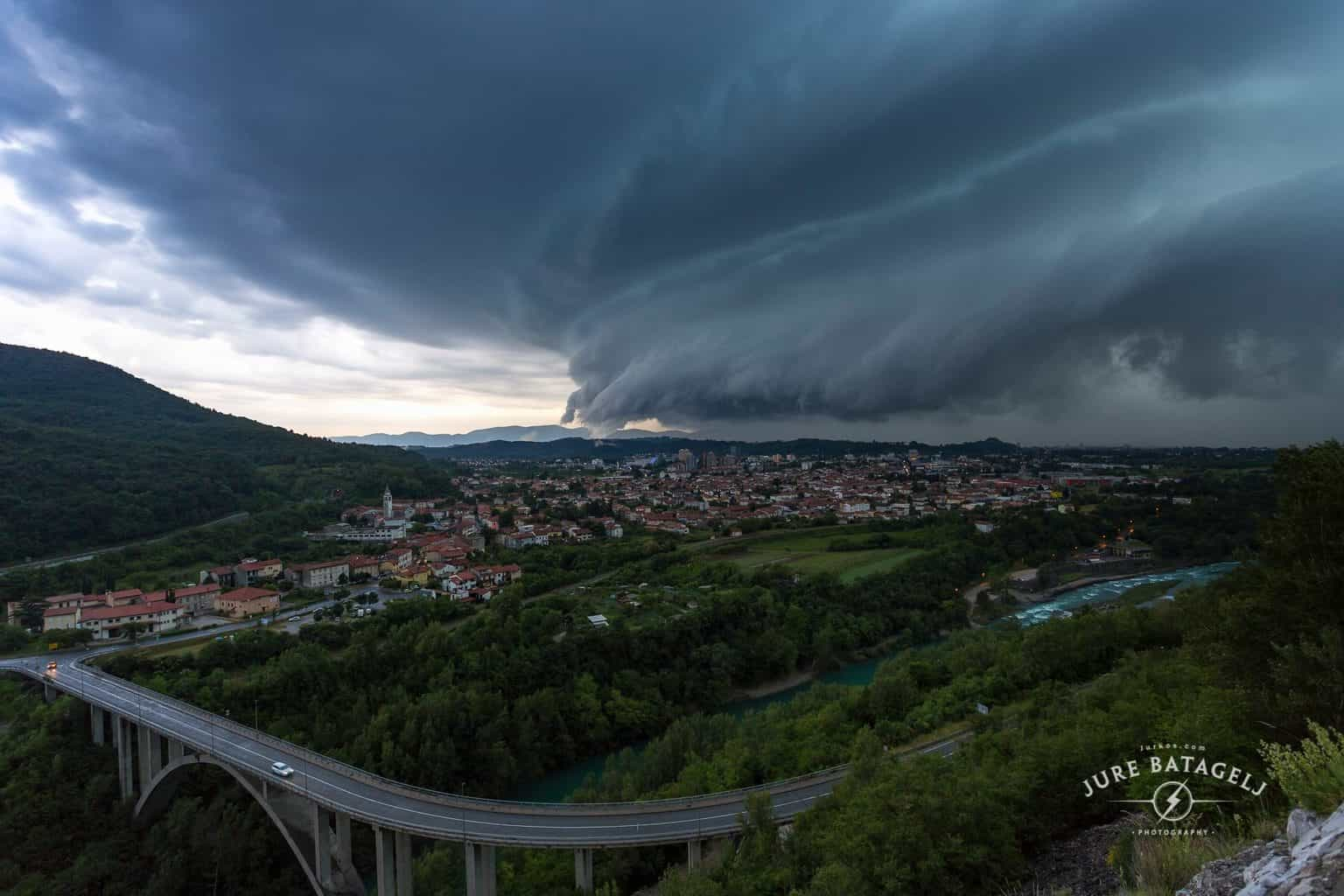 Nova Gorica with Solkan (Slovenia) and Gorizia (Italy) - Europe - 20.05.2015 It was predicted, but not that big, so I saw it through my window and in 5min of rush to this mountain road I made this catch of first great Shell Cloud captured on my location that became very popular in my country. Best wishes to all for new season of stormchasing..