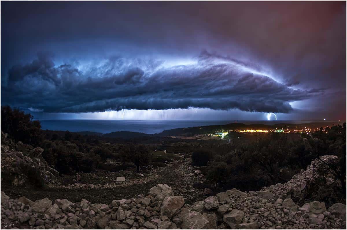 Spectacular shelf cloud last night.. 19.2.2016. island Lošinj / Croatia