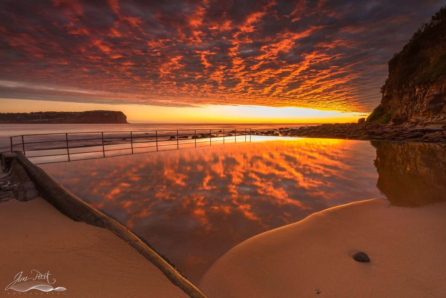 The sky came to life this morning at MacMasters Beach, Central Coast.