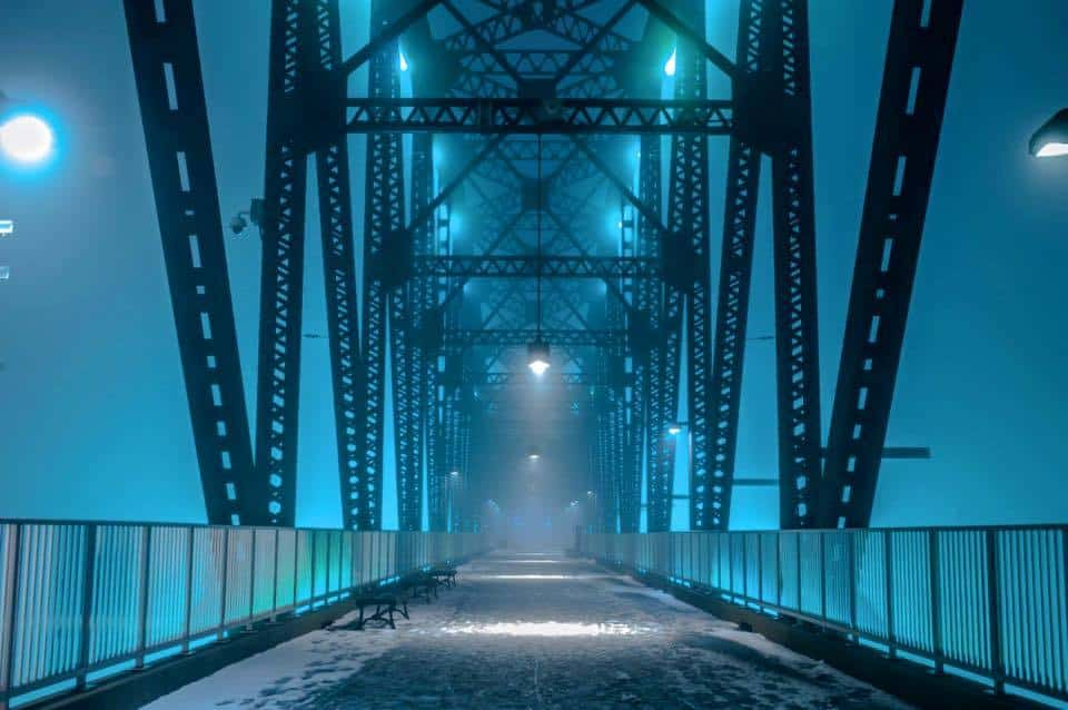 My local walking bridge takes on a whole new creepiness when a thick fog rolls in. I choose not to walk out to far on this particular evening!