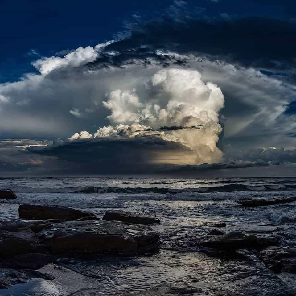 Beautiful structure of a storm heading out to sea. Sunshine coast Australia.