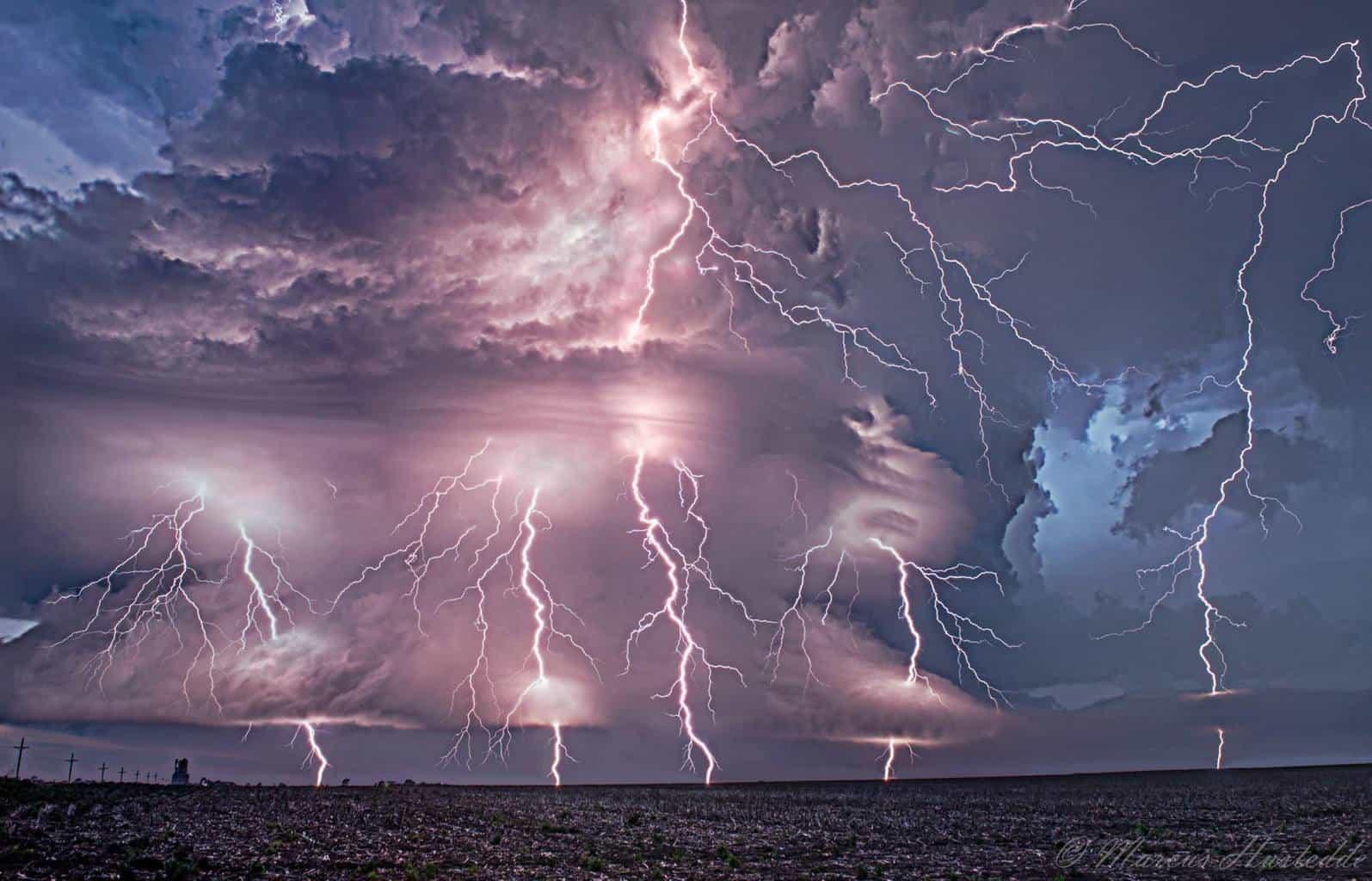 Five image lightning stack of the Selden, KS supercell on June 4, 2015.
