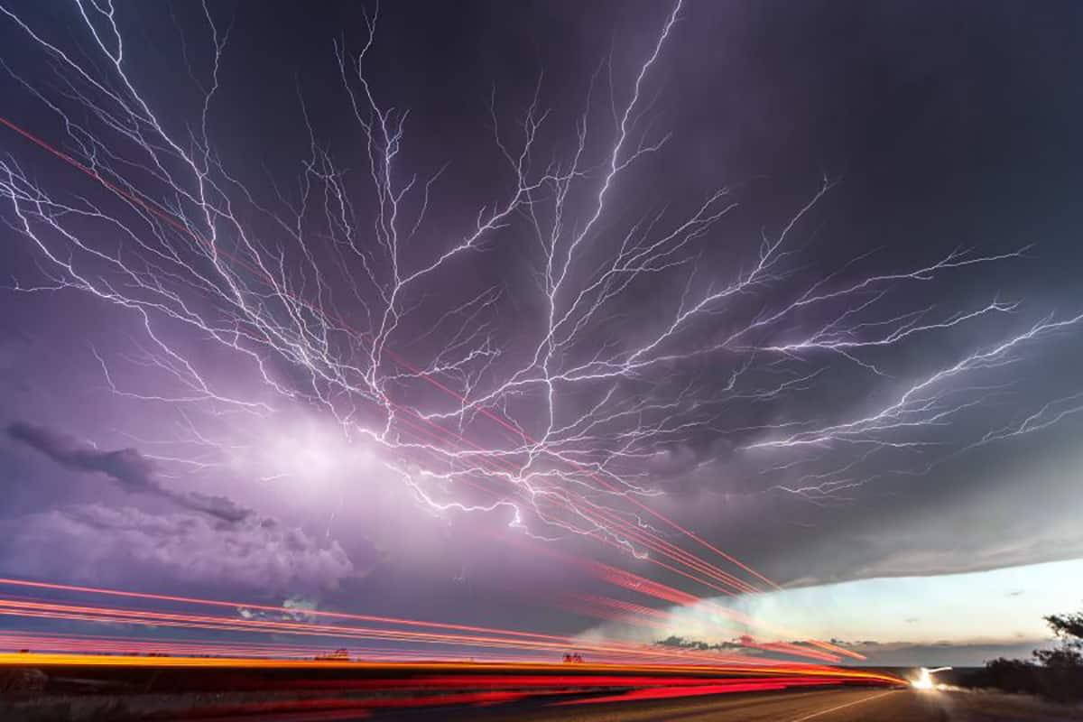 Crawler Lightning from June 1st 2013, in Texas, 4 image stack.