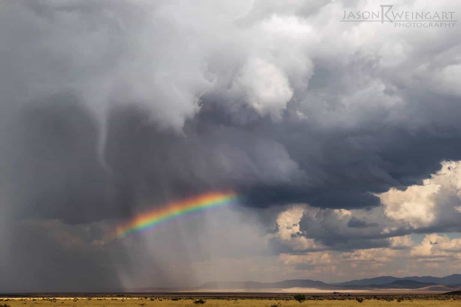 Funnel cloud over a rainbow in the Texas Big Bend on May 23, 2014.