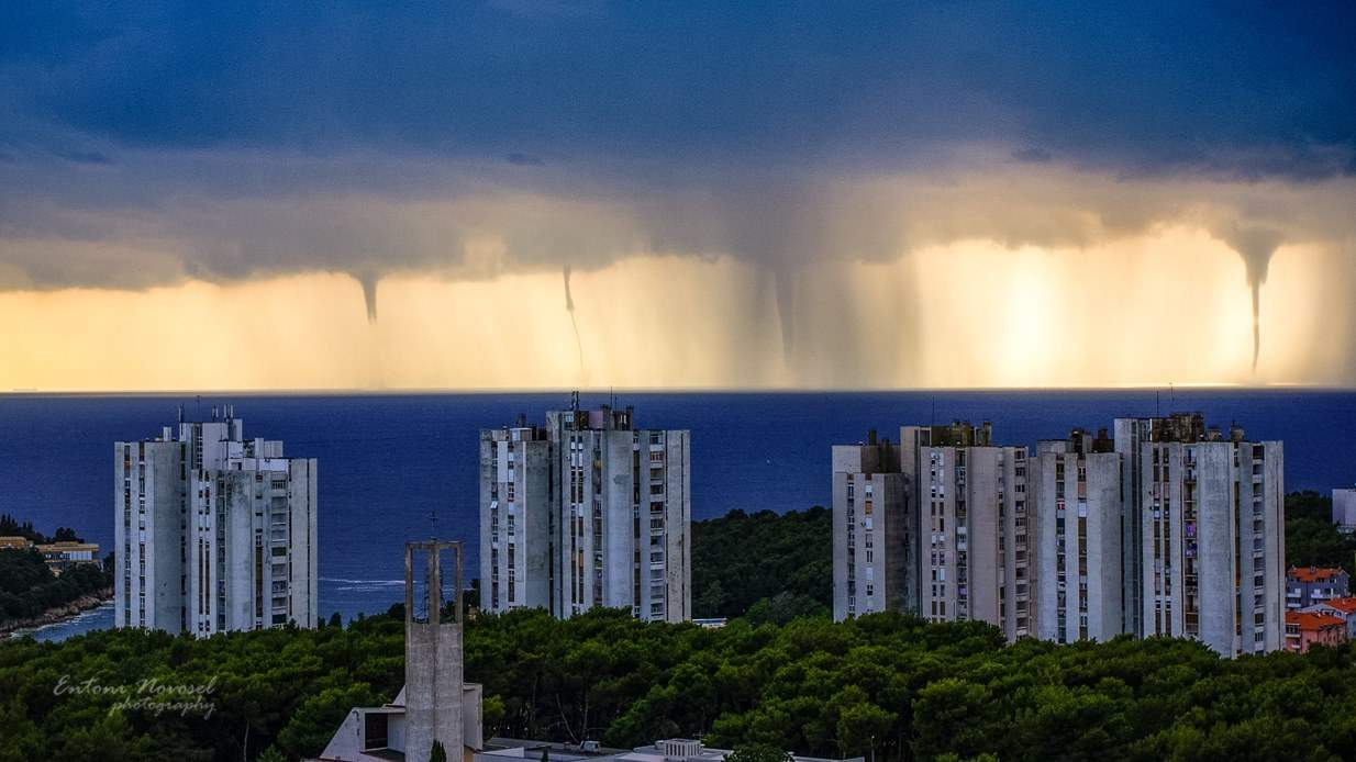 Great display of waterspouts near city of Pula in june 2013,that day there were more then 10 confirmed waterspouts during this outbreak. An incredible and unthinkable day