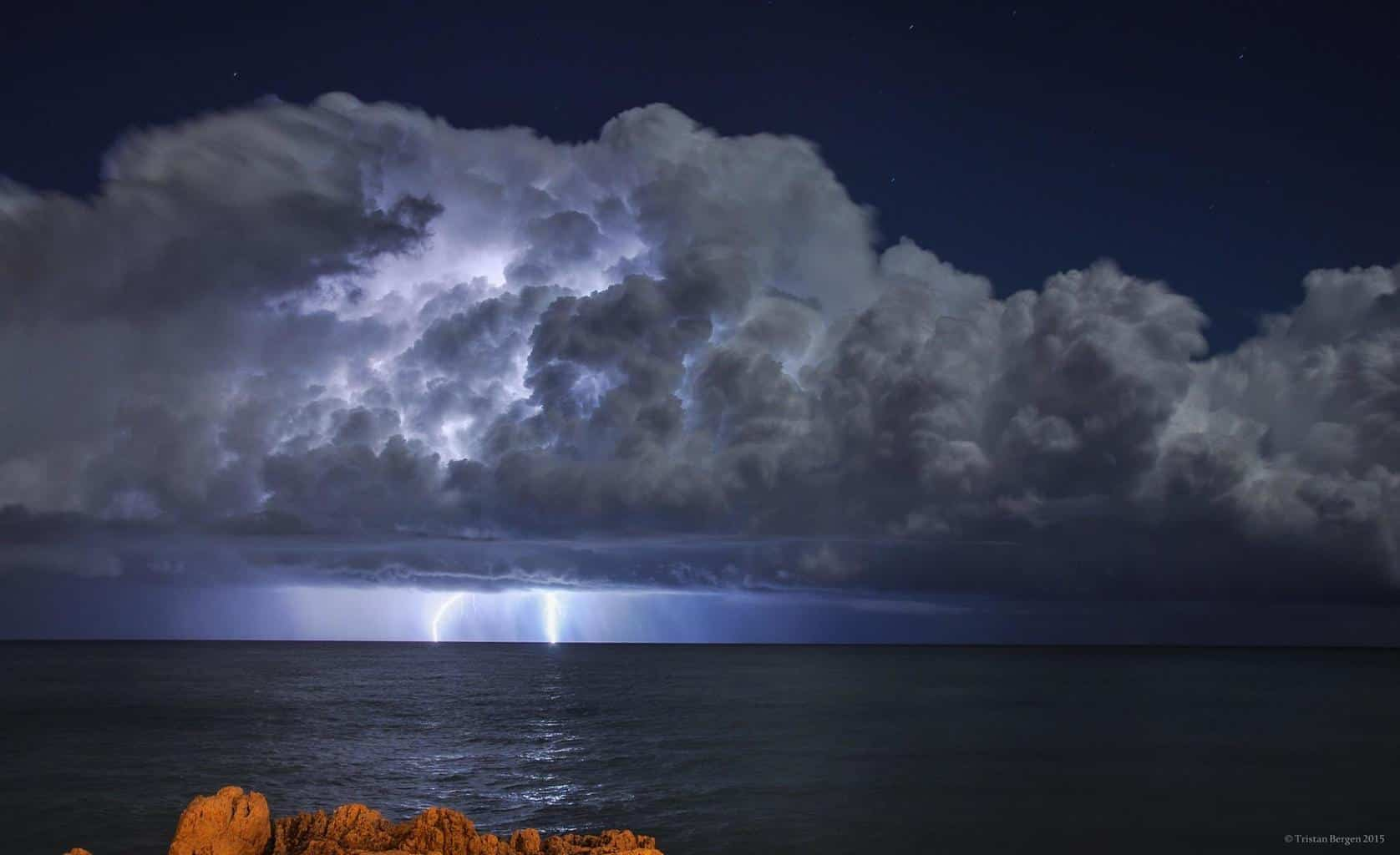 Beautiful storm in clear skyes in front of Antibes, France, in October 2015, thoose were the two first lighning strikes of the storm.
