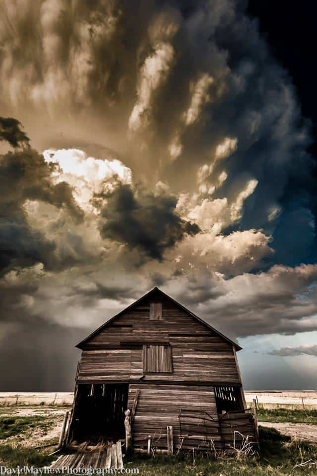 """""""Dust Bowl"""" An alternative angle of the storm and barn in Eastern Colorado from May 20th 2014. Thanks for all the great title suggestions and likes on the last post."""