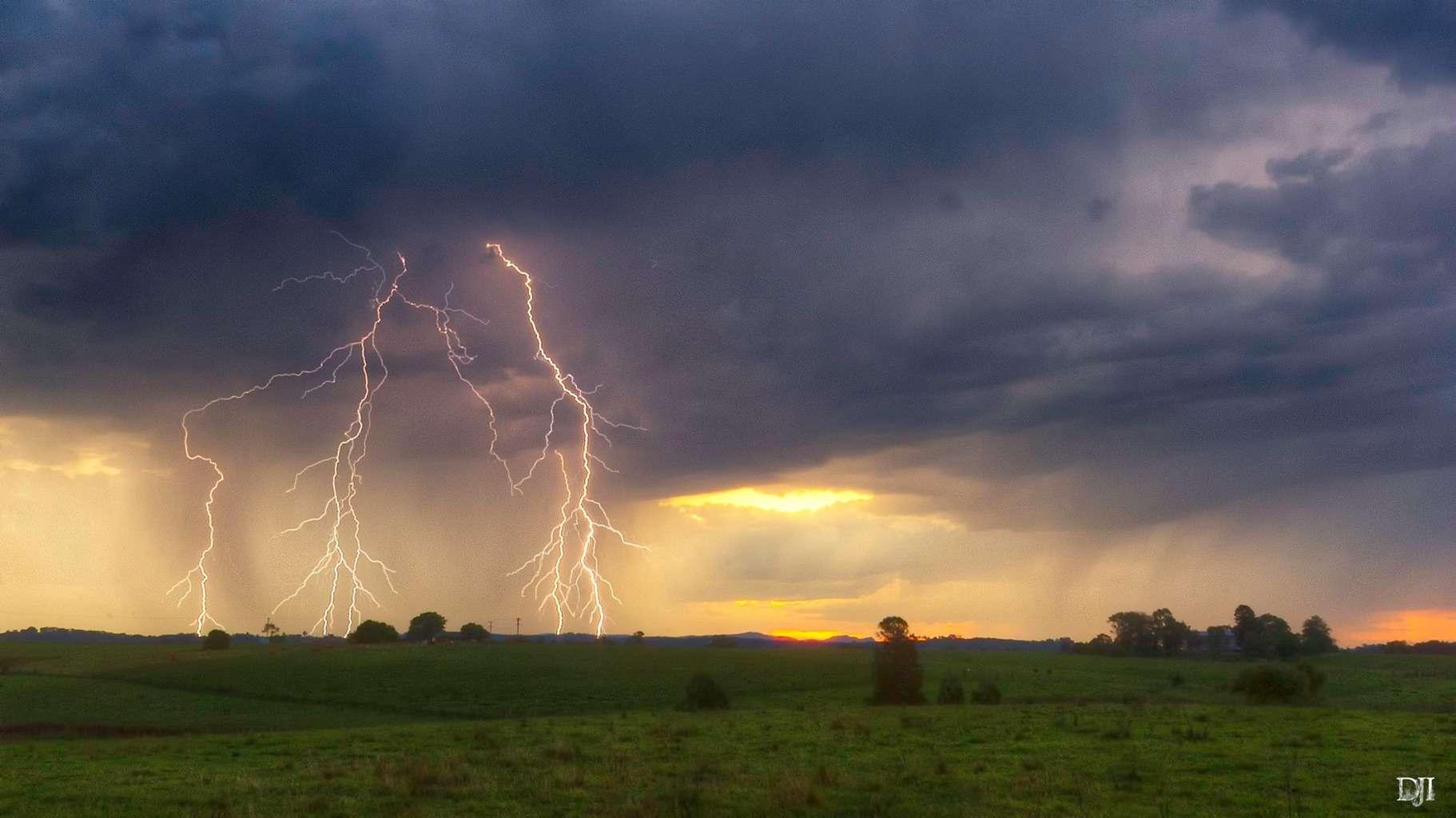 Sunset storm from Lochinvar NSW Australia.