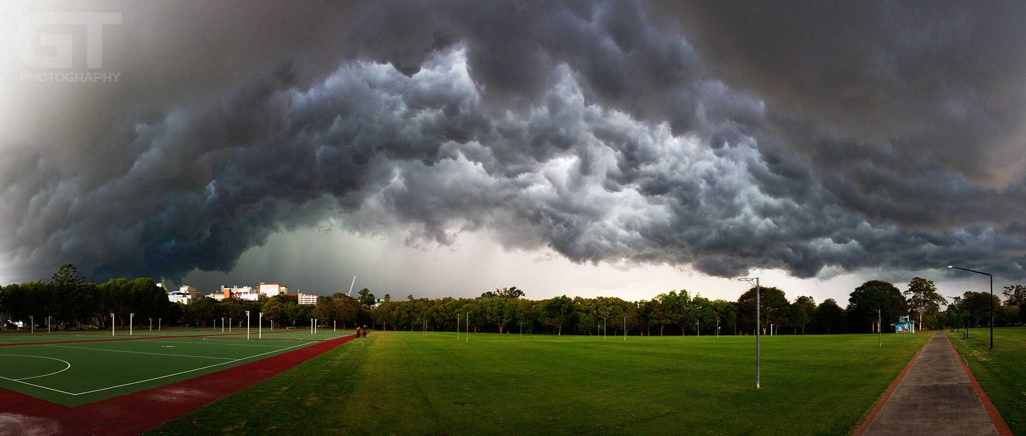 """""""In to the whales mouth"""" Turbulent clouds boil overhead as the gust front from a severe thunderstorm passes over. 14th November, 2013. Brisbane, Australia."""