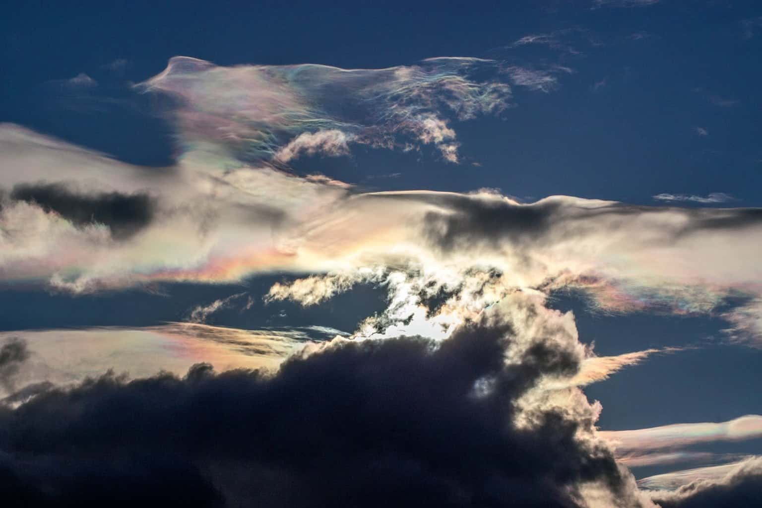 A fun display of some Iridescence clouds today. With an fStop of 20 and shutter at 1/3200 you get a filtered look at the sky(AKA sunglasses) you can really see the distinction in the clouds. And if I didn't have my shades on I wouldn't have got this lucky. Taken today in HamiltonBay Ontario.