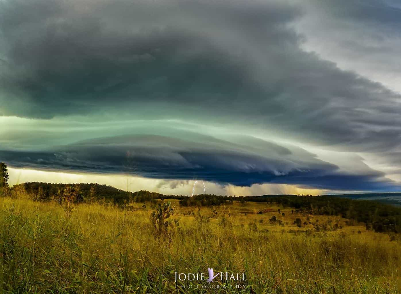 A severe warned cell near Munduberra, Australia. You could hear the hail smashing around in the clouds.