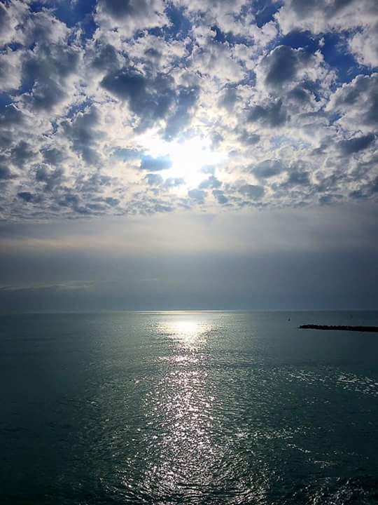Start of a new day of spring at the Black Sea, Romania
