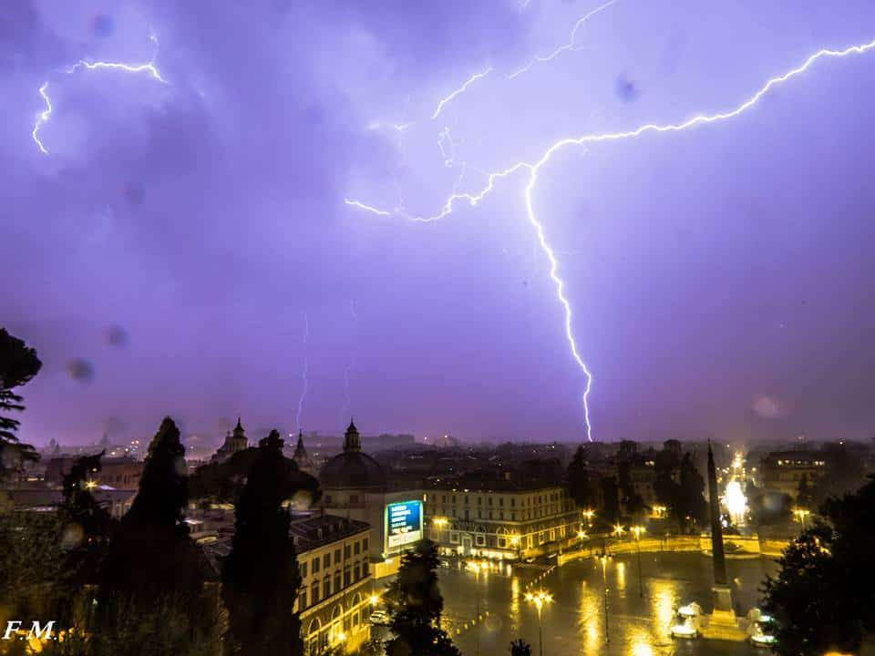 Live from Rome (Italy) Piazza del Popolo square. Lighting storm.