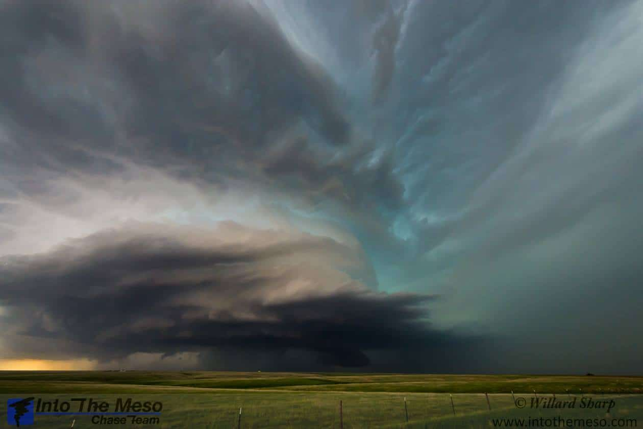 A supercell thunderstorm near Dighton, KS taken last spring May 27, 2015. This storm at this point was near the end of its mature cycle and was slowly growing weaker but the structure and colors where amazing to see. Earlier in the afternoon this storm produced several short lived tornadoes. That was a very successful chase day.