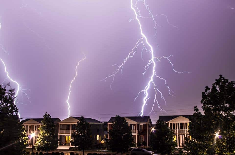 A few CG lightning strikes behind a line of thunderstorms in Saint Charles, Missouri!!