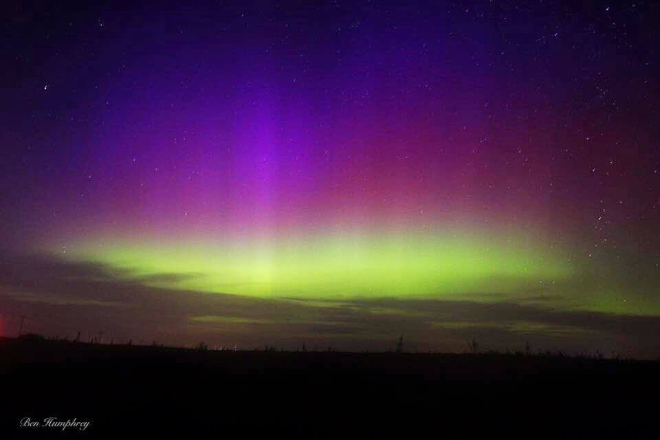 Beautiful colors from the northern lights in central Iowa back in September